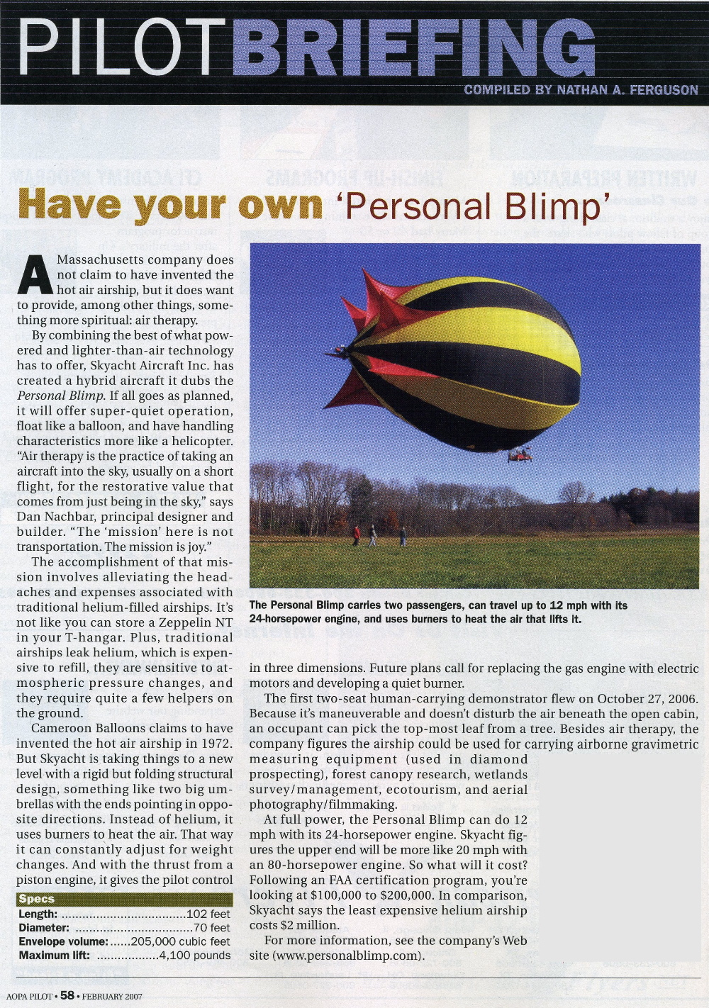 personal blimp flying machine